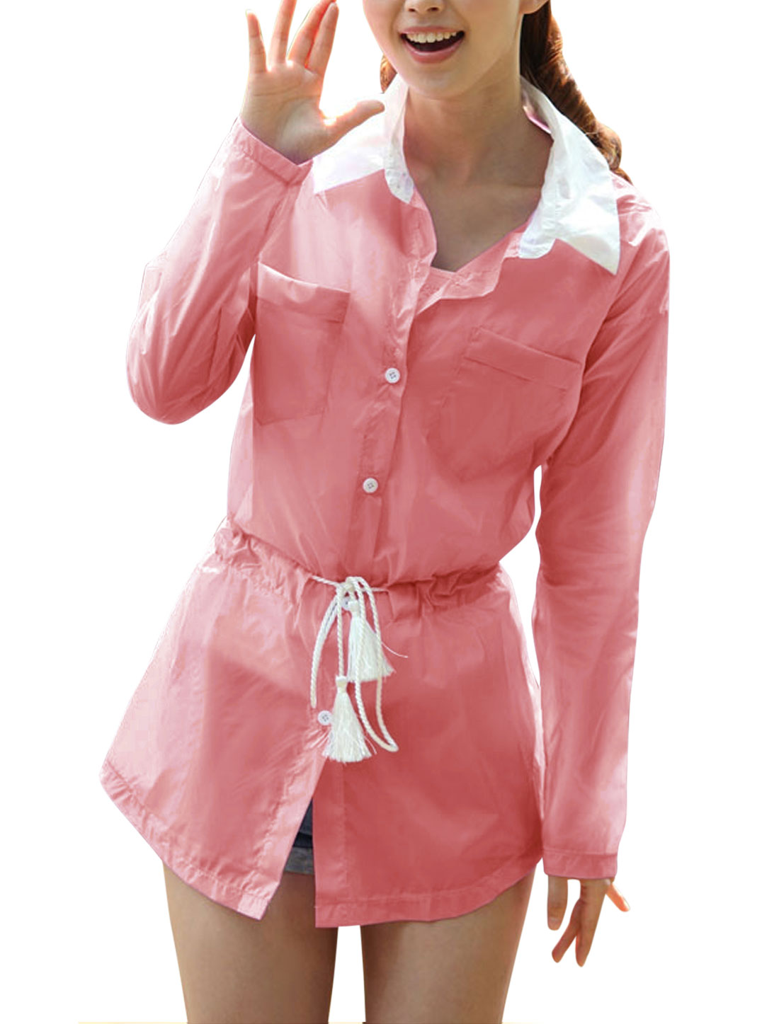 Lady Point Collar Single Breasted Long Thin Jacket Pink XS