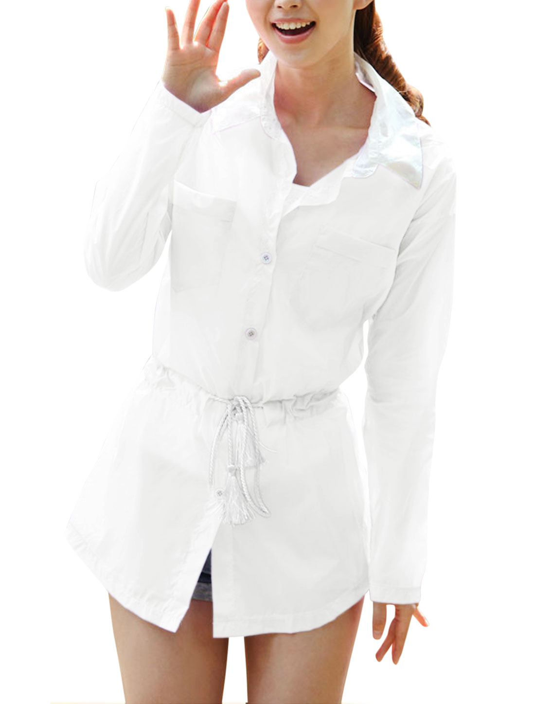 Lady Point Collar Button Closure Long Thin Jacket White XS