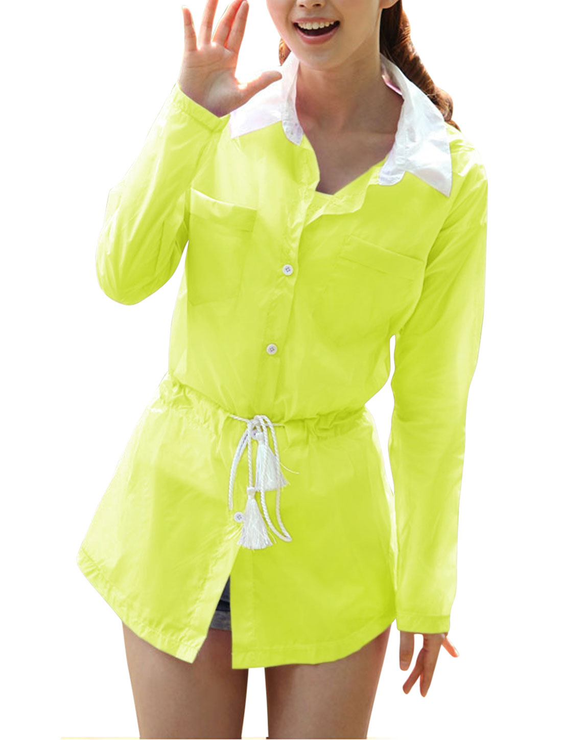 Lady Single Breasted Thin Jacket Fluorescent Yellow XS