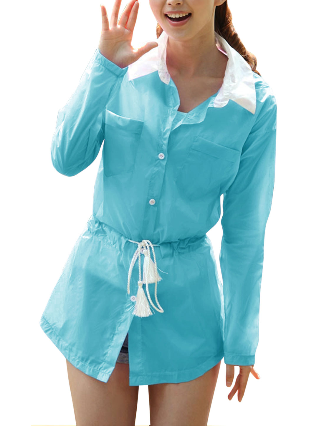 Lady Point Collar Button Front Long Thin Jacket Sky Blue XS
