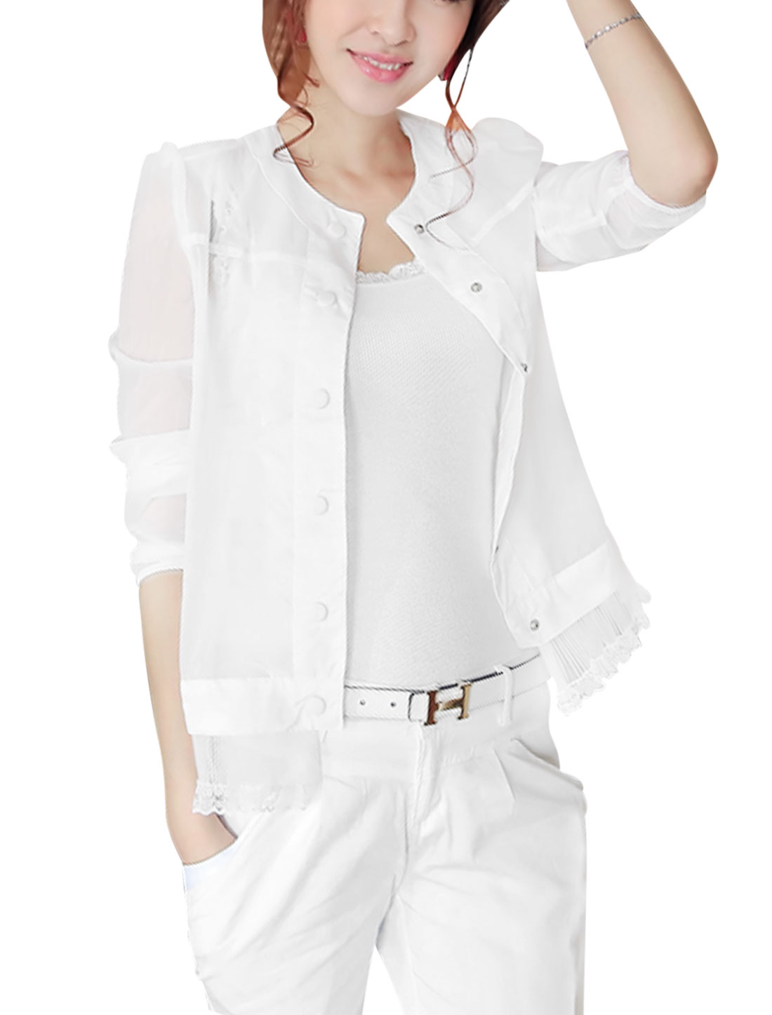 Lady Long Sleeve Button Up Padded Shoulder Thin Jacket White XS