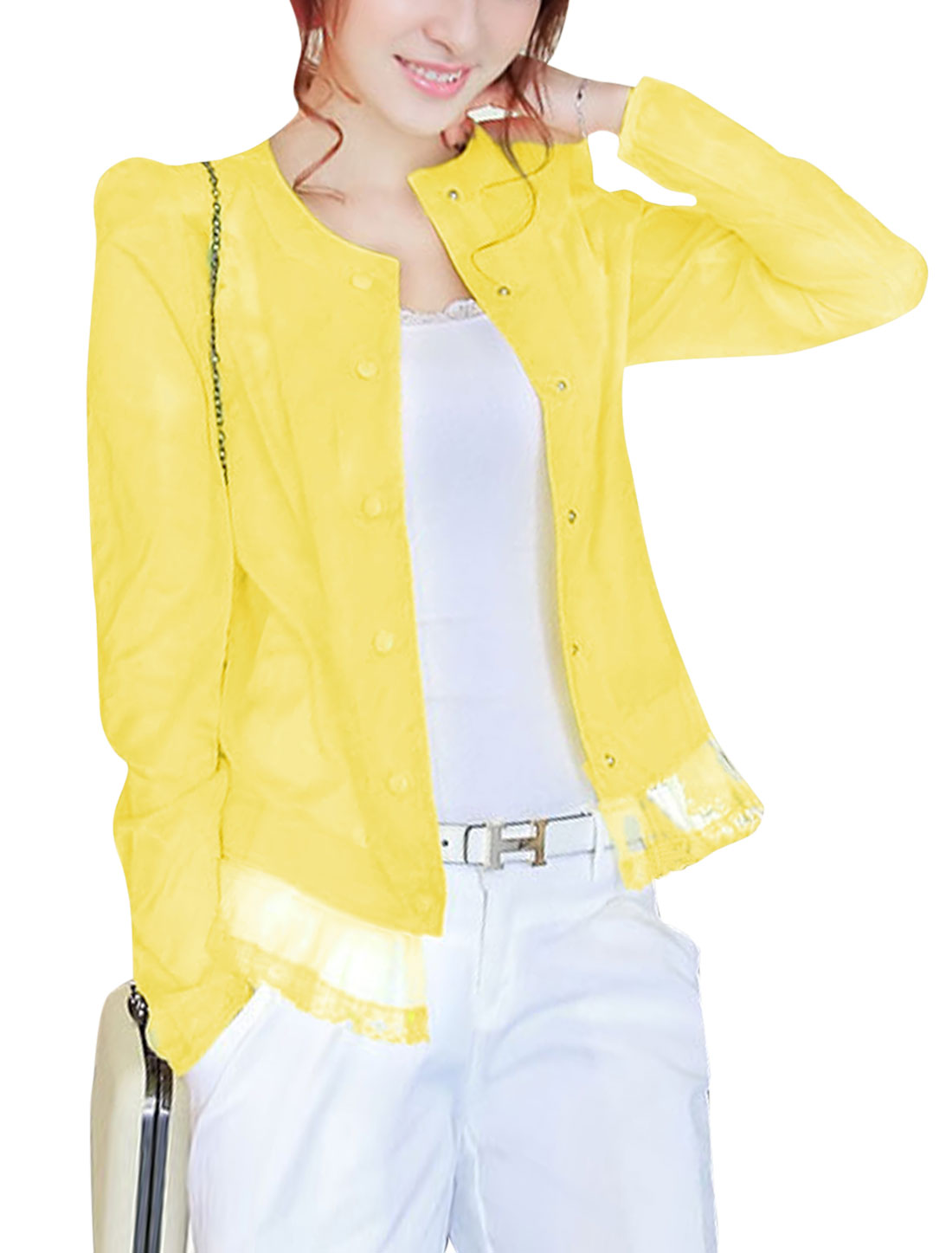 Lady Long Sleeve Padded Shoulder Thin Jacket Yellow XS
