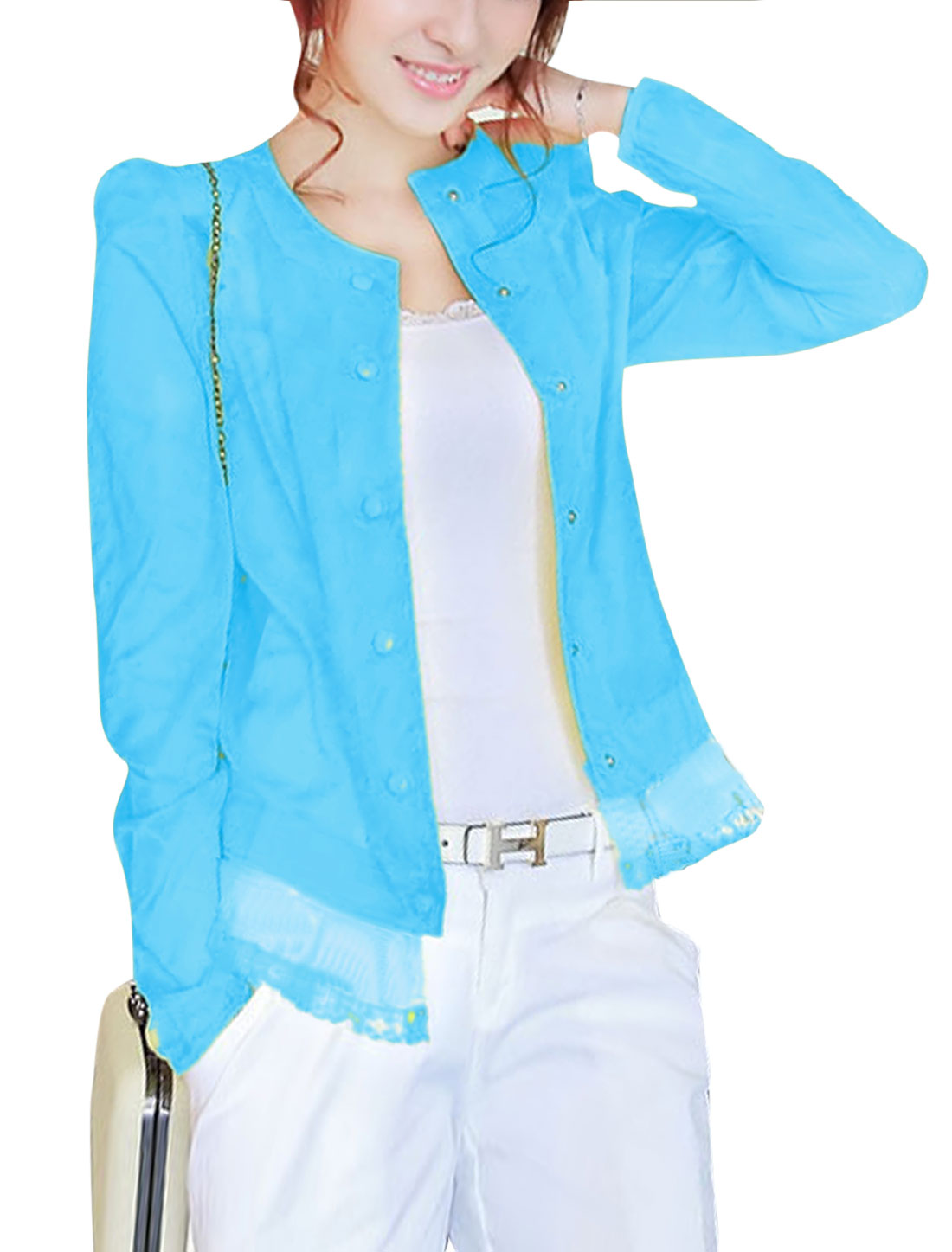 Lady Long Sleeve Button Up Padded Shoulder Thin Jacket Sky Blue XS