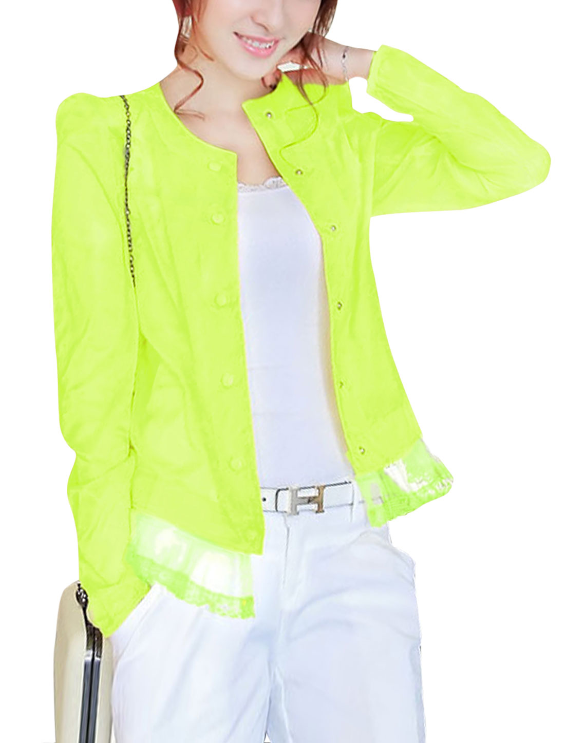 Lady Single Breasted Padded Shoulder Thin Jacket Green Yellow XS