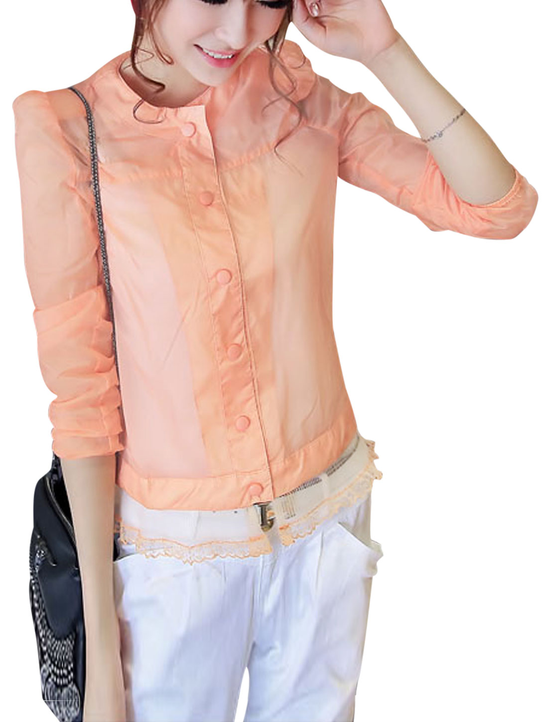Lady Long Sleeve Button Front Padded Shoulder Thin Jacket Pink XS