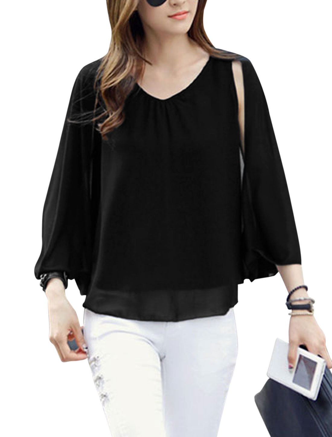 Lady Sleeveless V Neck Double Layer Pullover Split Back Chiffon Top Black S
