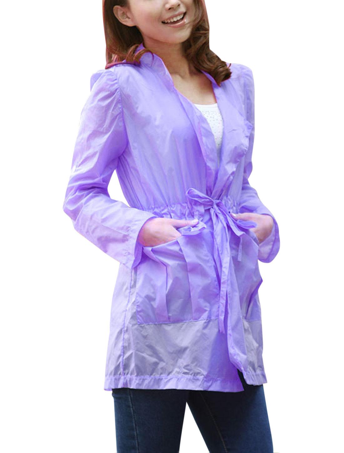 Lady Convertible Collar Drawstring Waist Thin Jacket Lavender XS