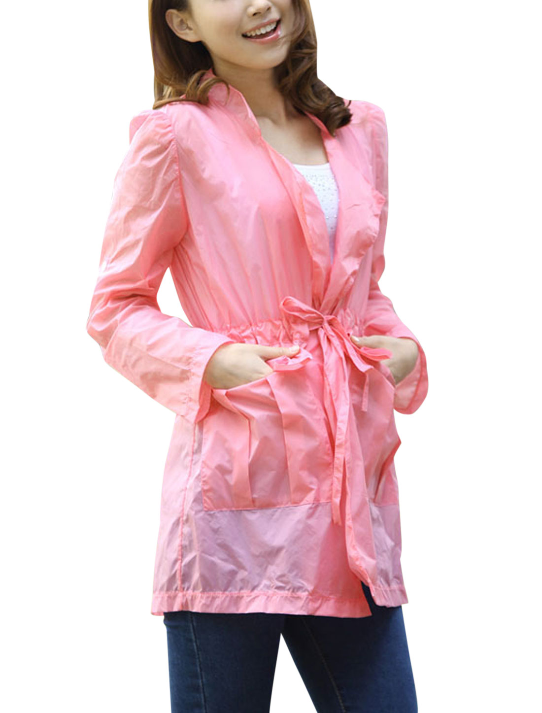 Lady NEW Long Sleeve Drawstring Waist Thin Jacket Pink XS