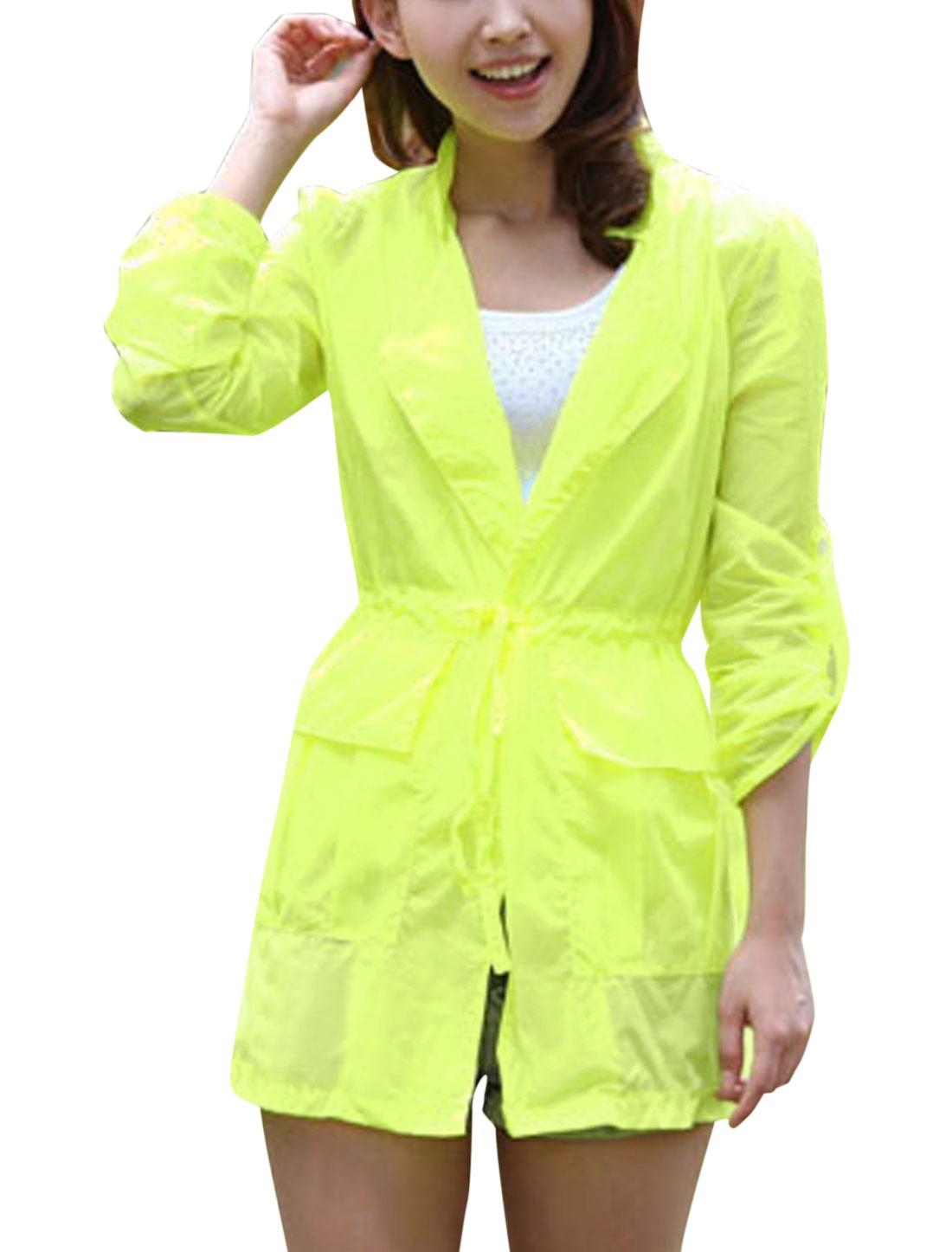 Lady Convertible Collar Long Sleeve Thin Jacket Fluorescent Yellow XS