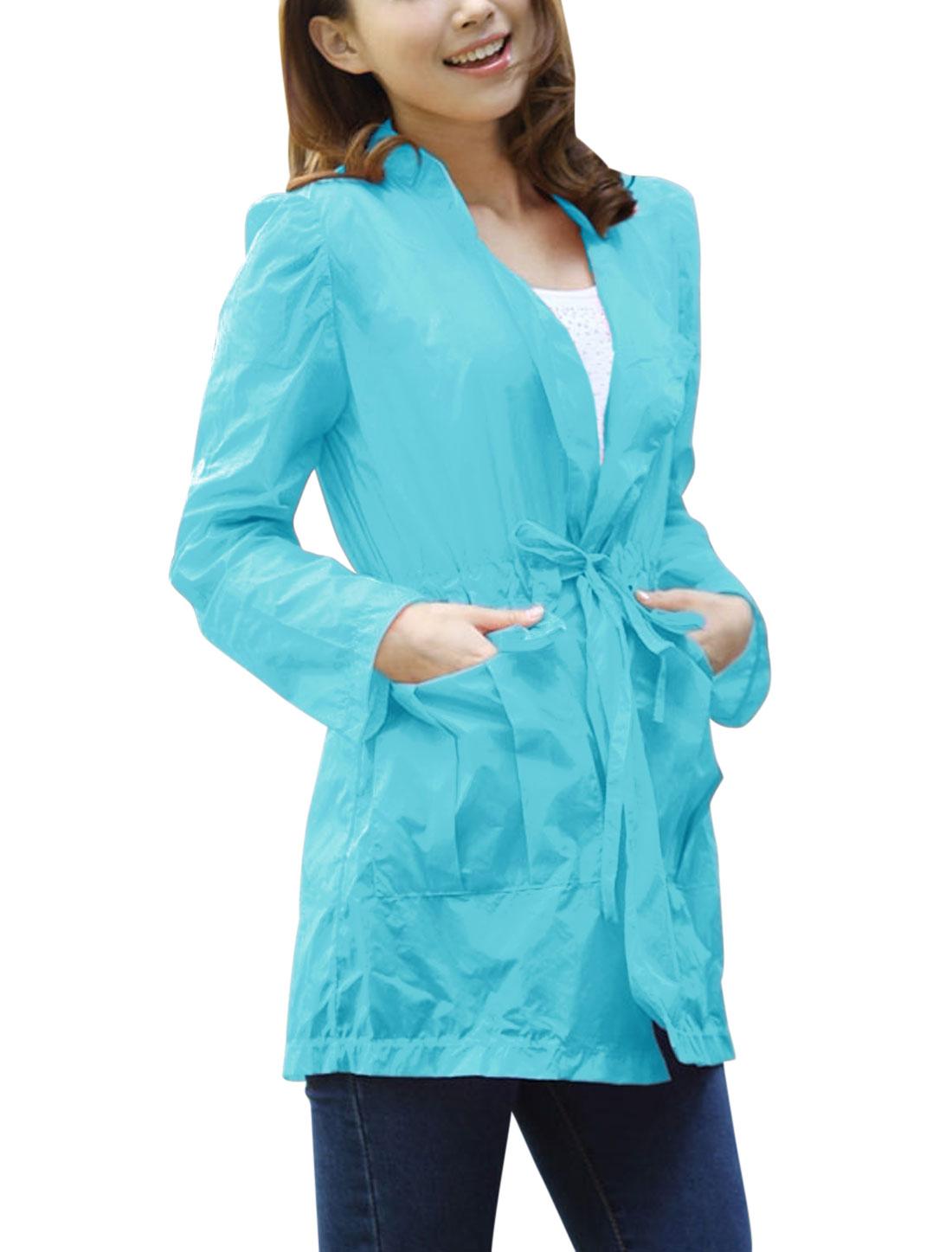 Lady Two Pockets Long Sleeve Drawstring Waist Thin Jacket Sky Blue XS