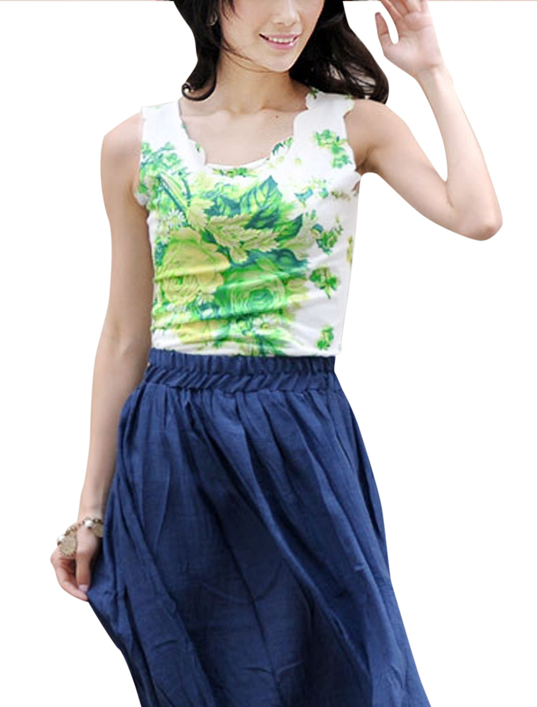 Women Floral Prints Sleeveless Scalloped Trim Elegant Tank Top Green White XS