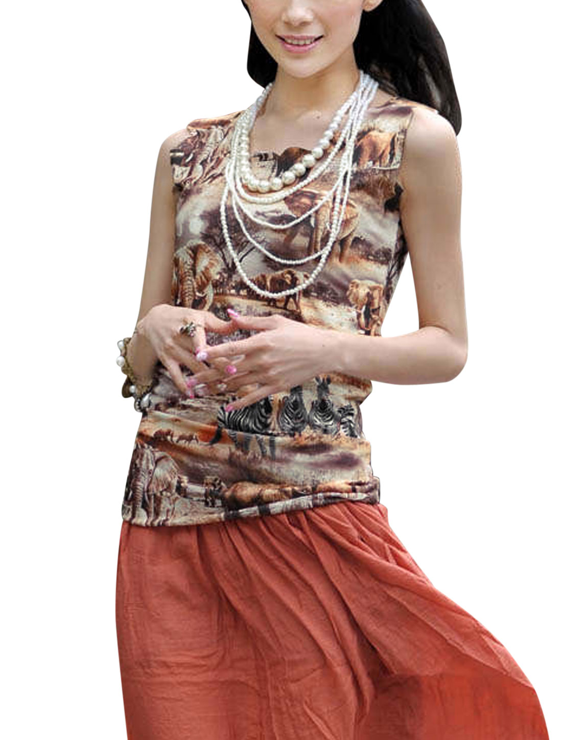 Woman's Animal Prints Sleeveless Scalloped Neckline Tank Top Multicolor XS