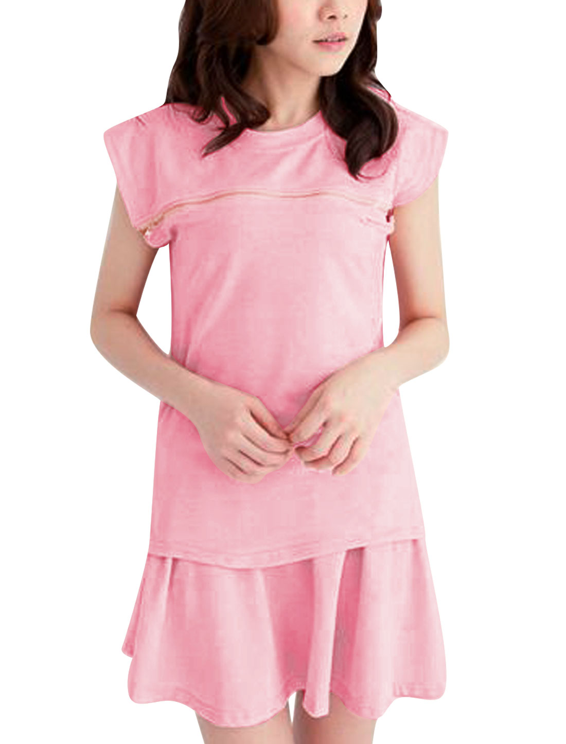 Lady Batwing Sleeve Zipper Decor Top w Stretchy Waist Skirt Light Pink XS