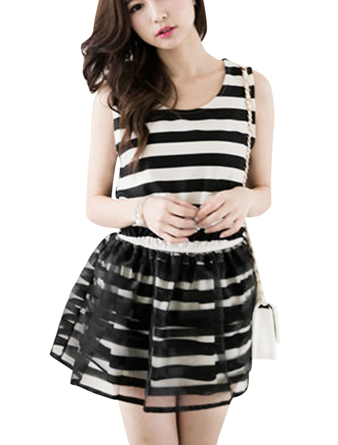 Lady Stripes Organza Panel Elastic Waist Dress Black White XS