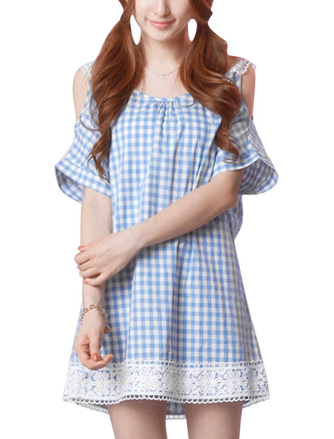 Lady Plaids Pattern Cut Out Shoulder Above Knee Straight Dress Sky Blue XS