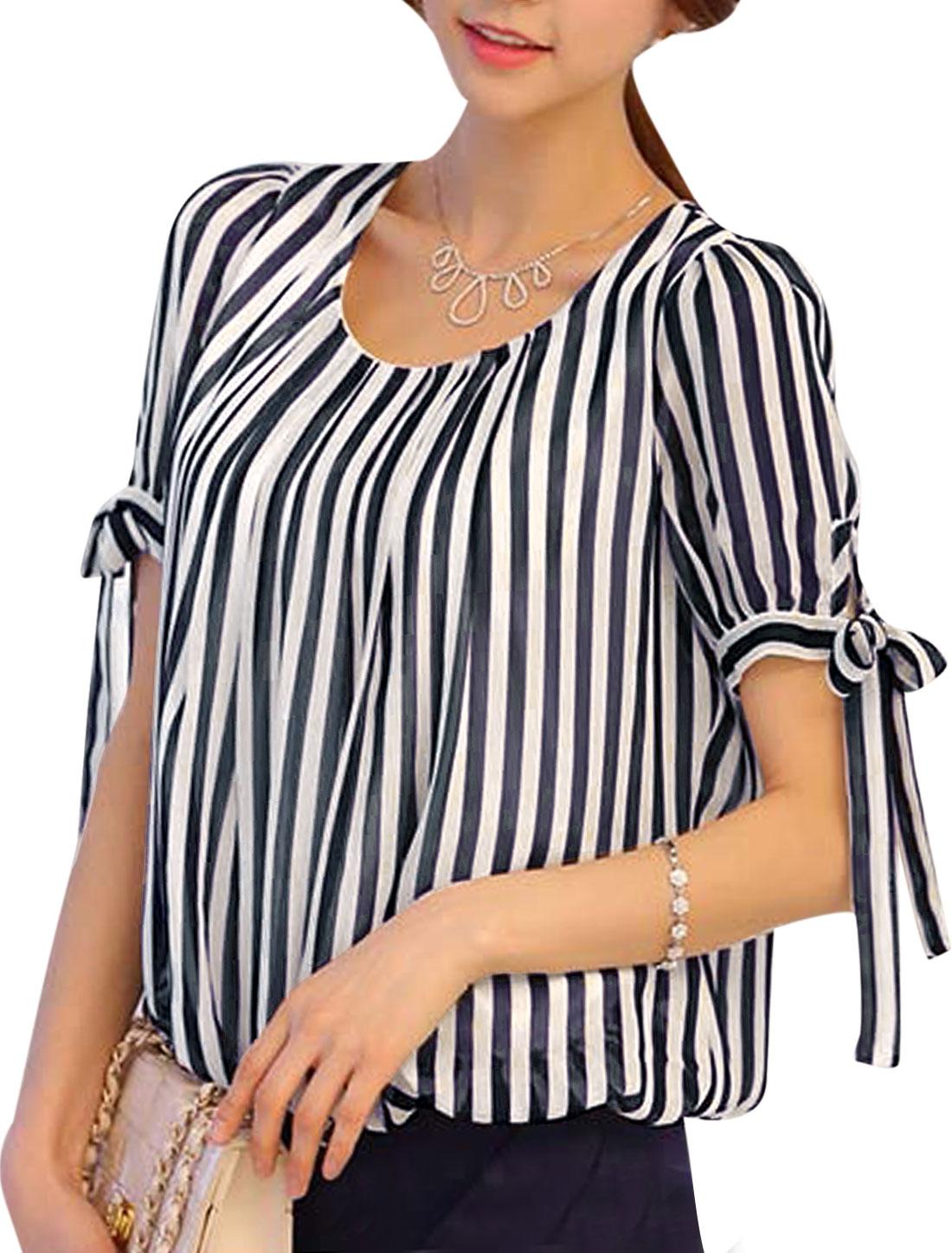 Women Vertical Stripes Pattern Self Tie Bowknot Chic Chiffon Blouse Black White XS