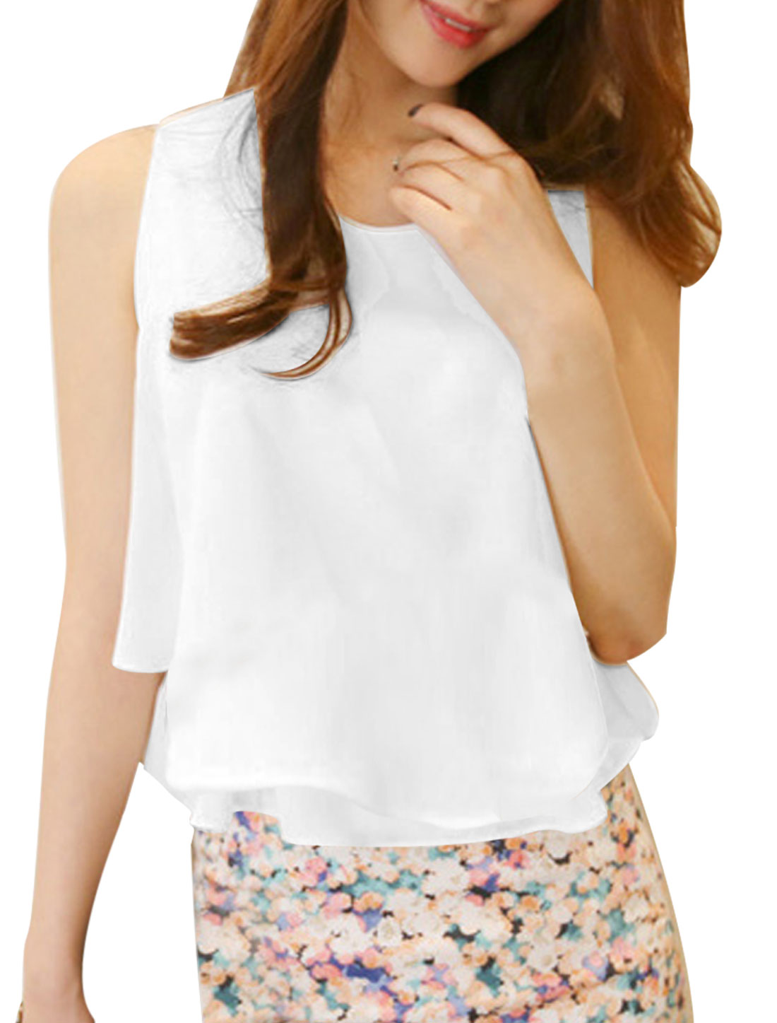 Lady's Sleeveless U Neck Pullover Double Layer Chiffon Tank Top White XS