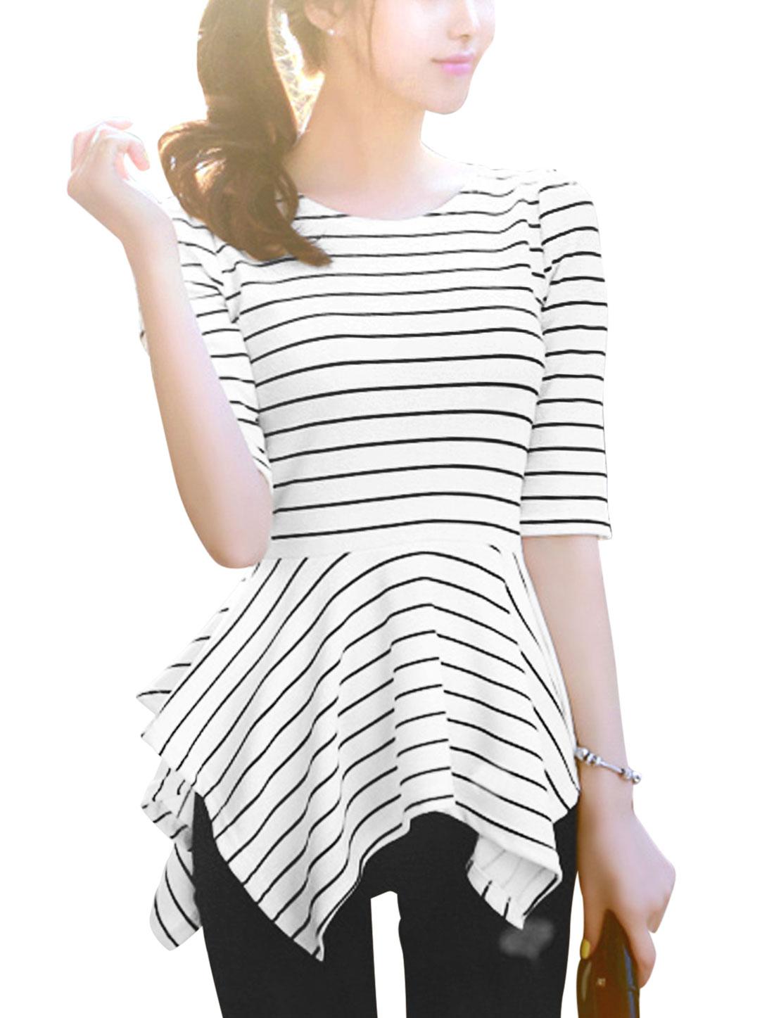 Lady Round Neck Elbow Sleeve Asymmetrical Hem Ribbon Tie Back Striped Top Black White M
