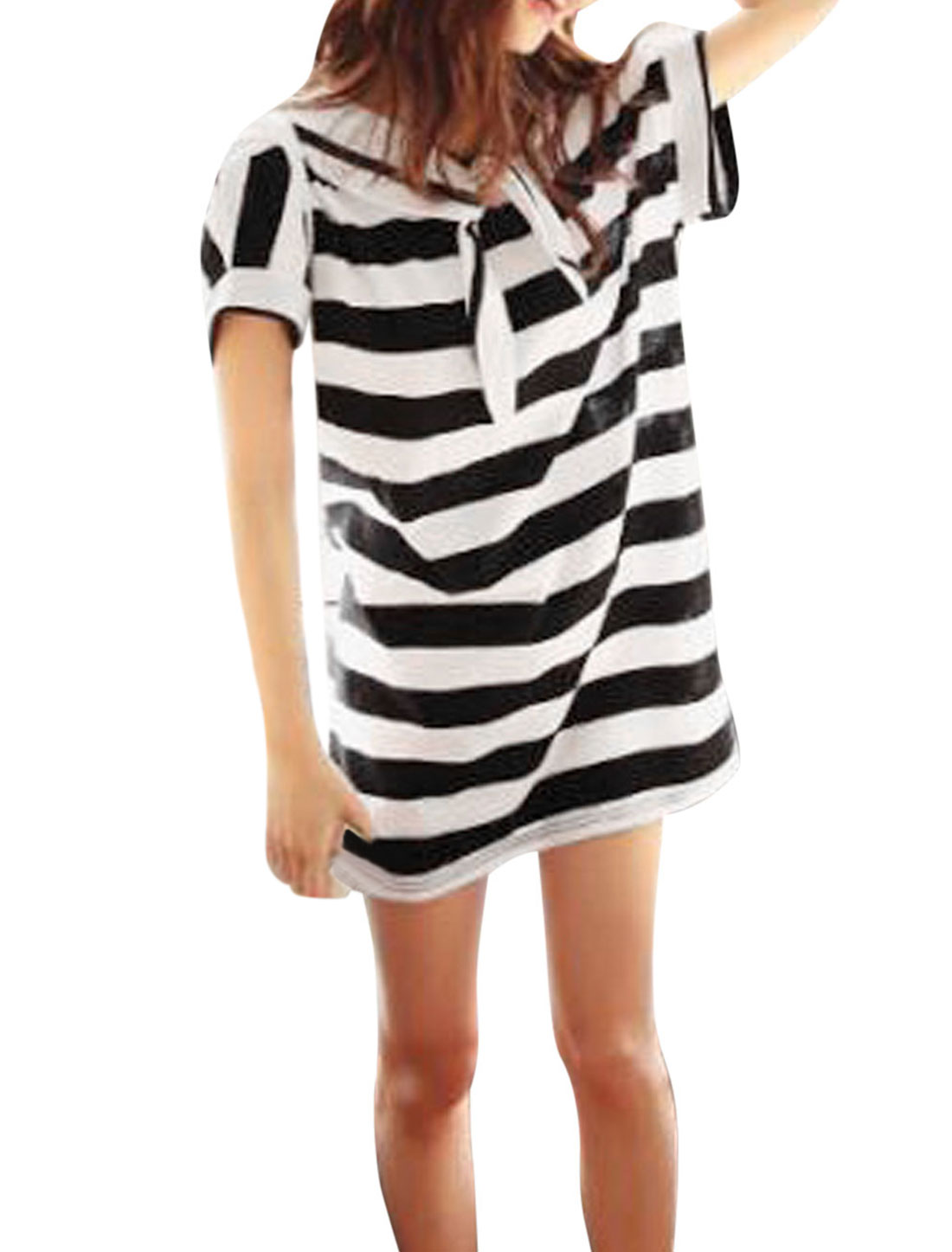 Lady Navy Collar Short Dolman Sleeve Striped T Shirt Dress Black White S