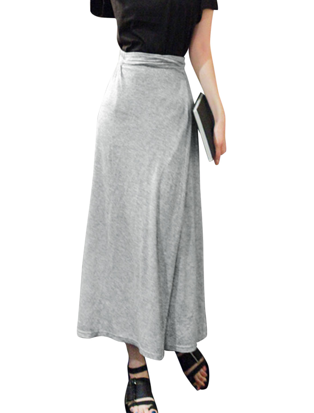 Women Stretchy Self Tie String Waist Mid Calf Skirt Light Gray S