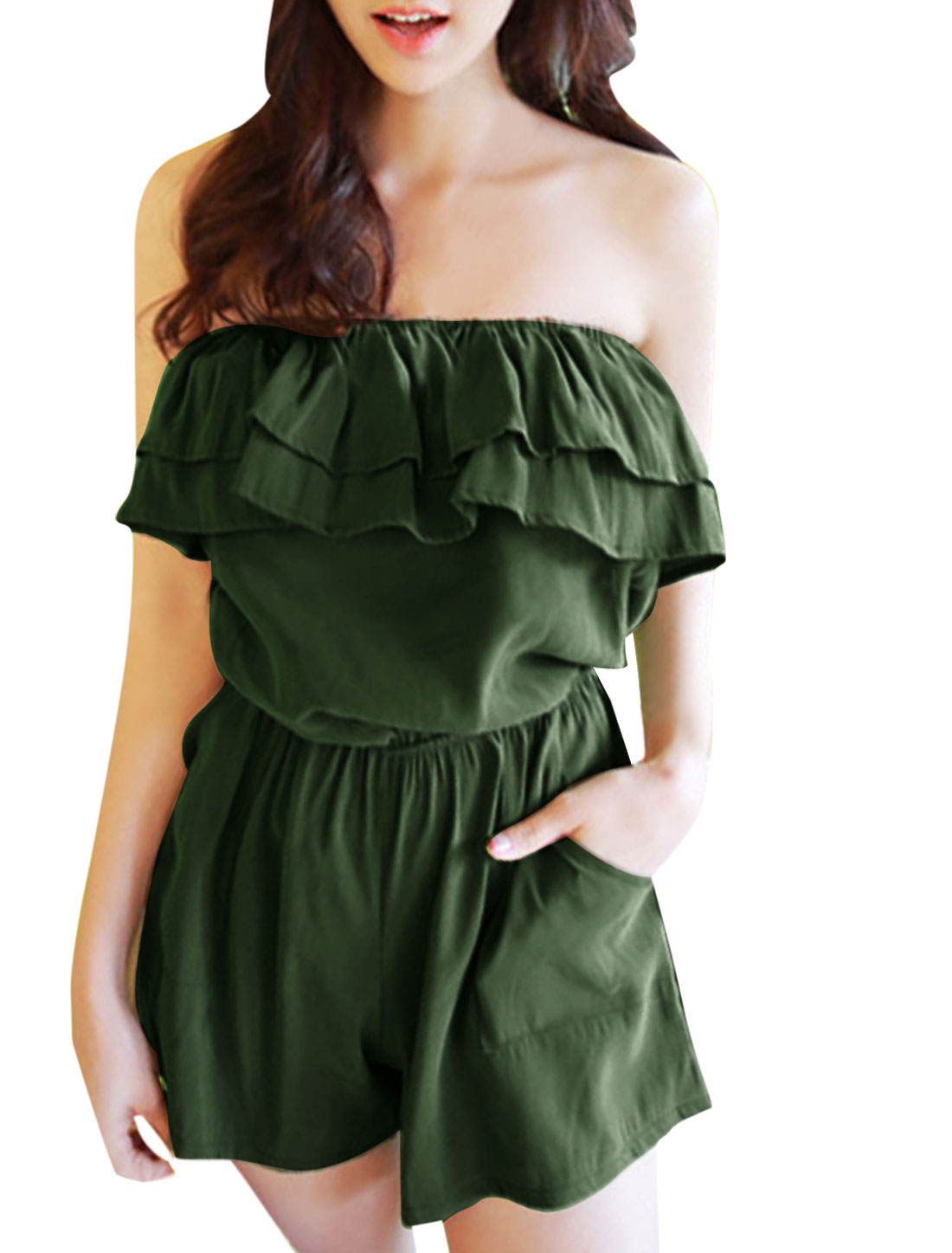 Ladies Ruffled Upper Strapless Slant Pockets Sweet Tube Romper Army Green XS