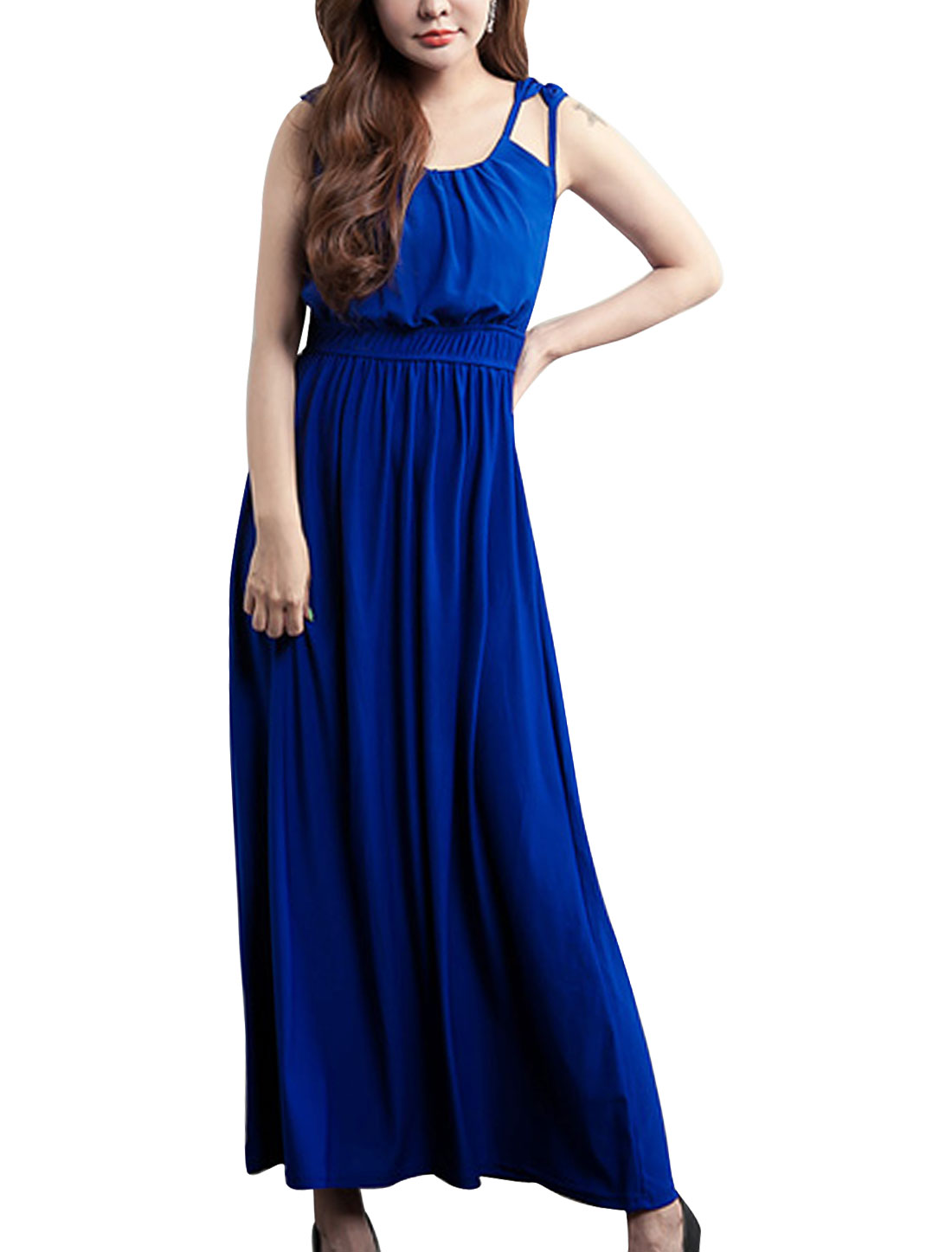Lady Double Spaghetti Strap Elastic Waist Slim Fit Blouson Dress Blue M