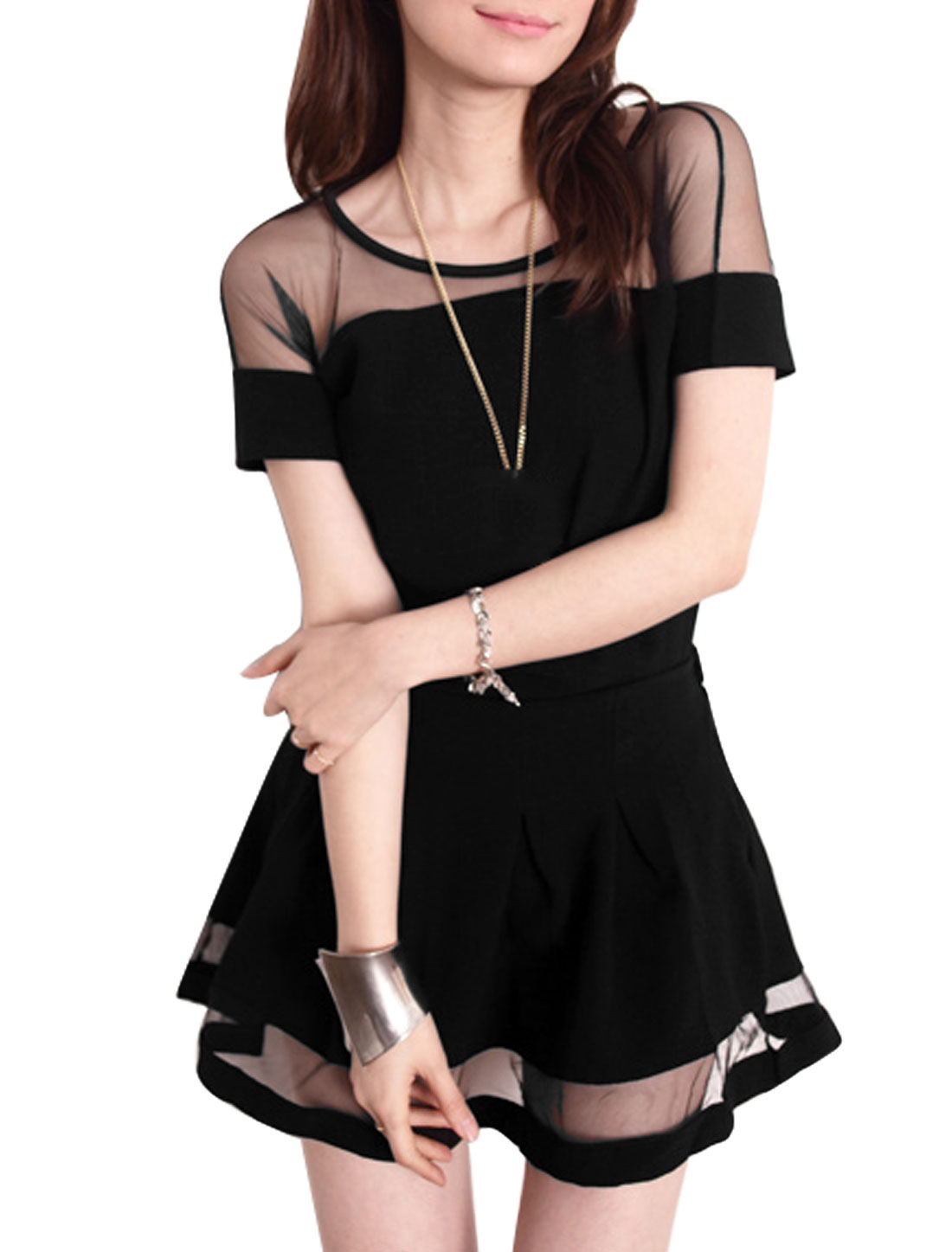 Lady Round Neck Lace Panel Short Sleeve Top w Elastic Waist Culotte Black S
