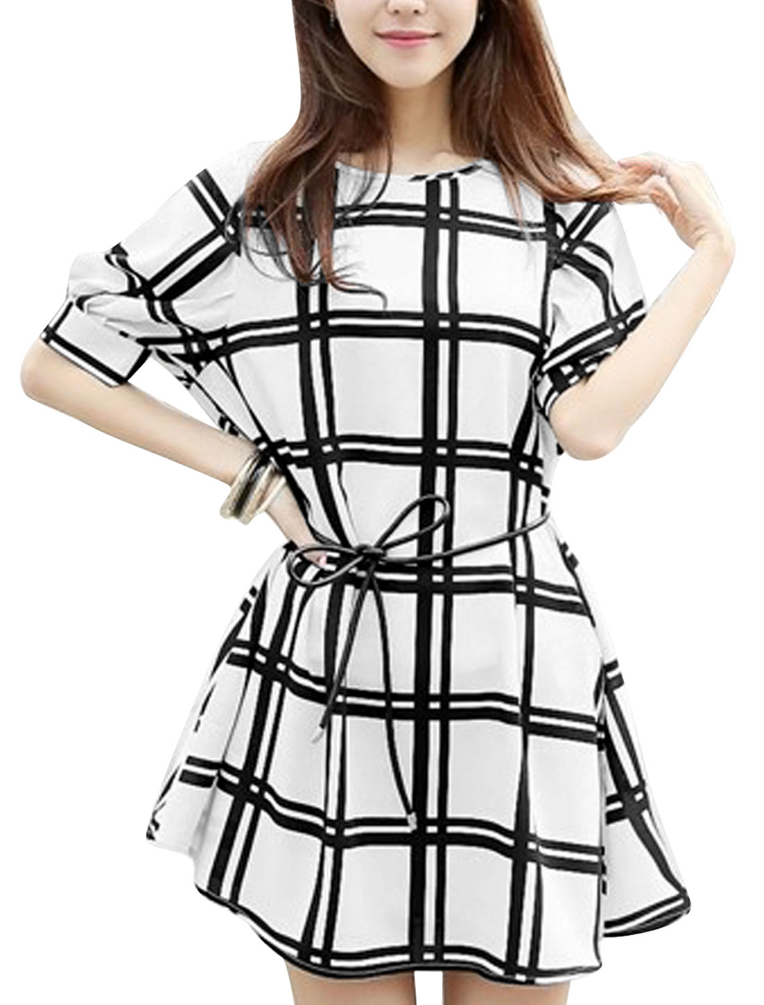 Lady Plaids Pattern Elbow Sleeve Pullover Blouson Dress w Waist String White XS