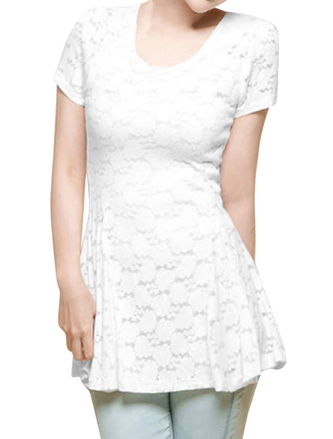 Lady Chic Round Neck Short Sleeve Slim Fit Lace Top Blouse White XS