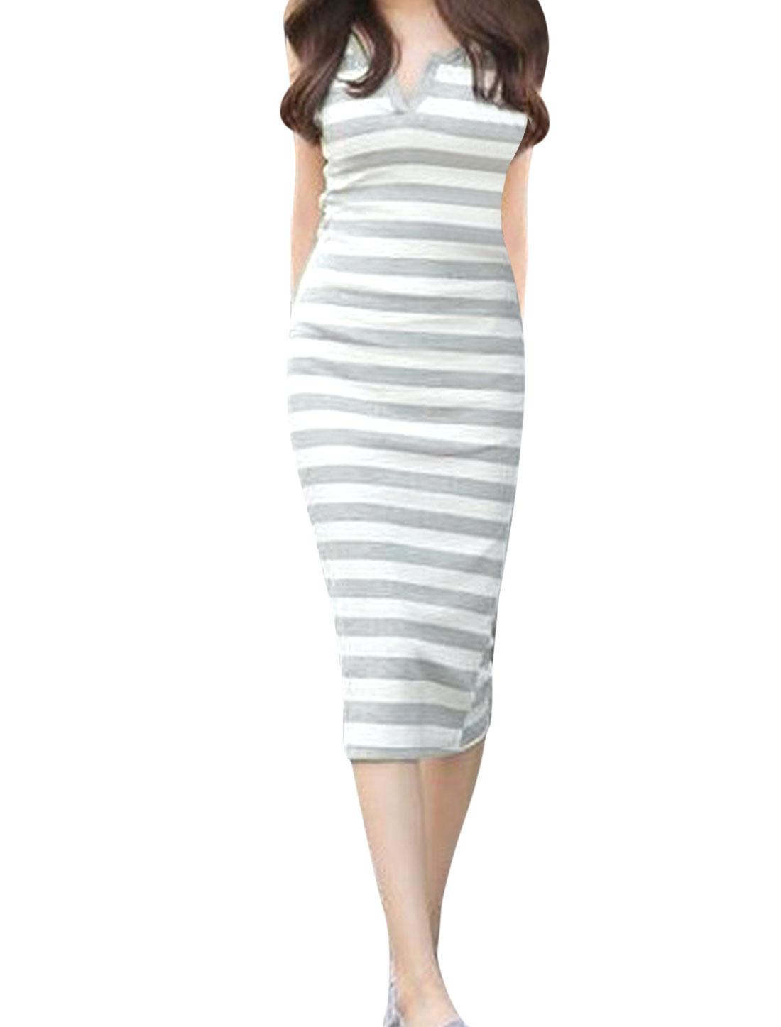 Women Split Neck Stripes Pattern Pullover Trendy Tank Dress White Light Gray S