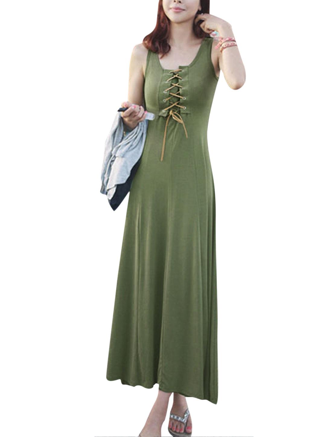 Women Round Neck Lace-Up Front Full Length Tank Dress Army Green S