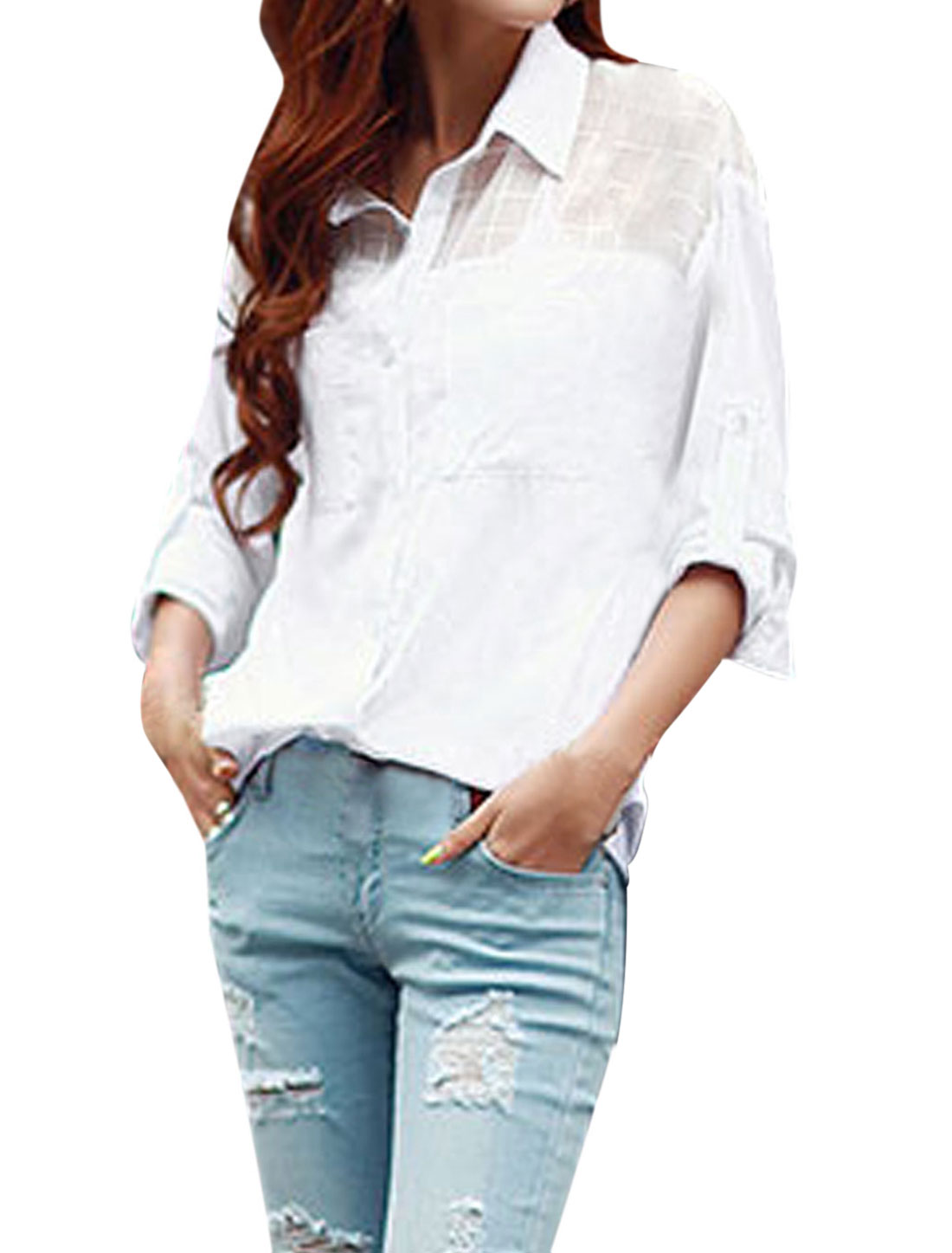 Lady Long Batwing Sleeve Cuffed Sheerness Detail Top Shirt White S