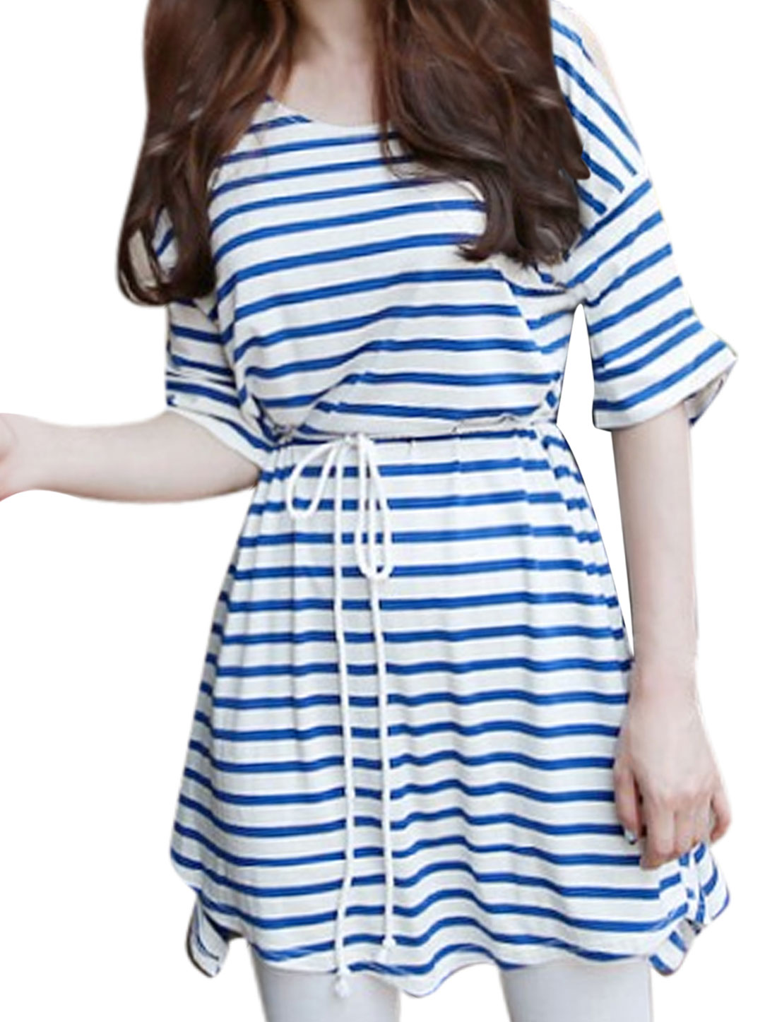 Women Cut Out Shoulder Stripes Tunic Top w Waist String White Blue S