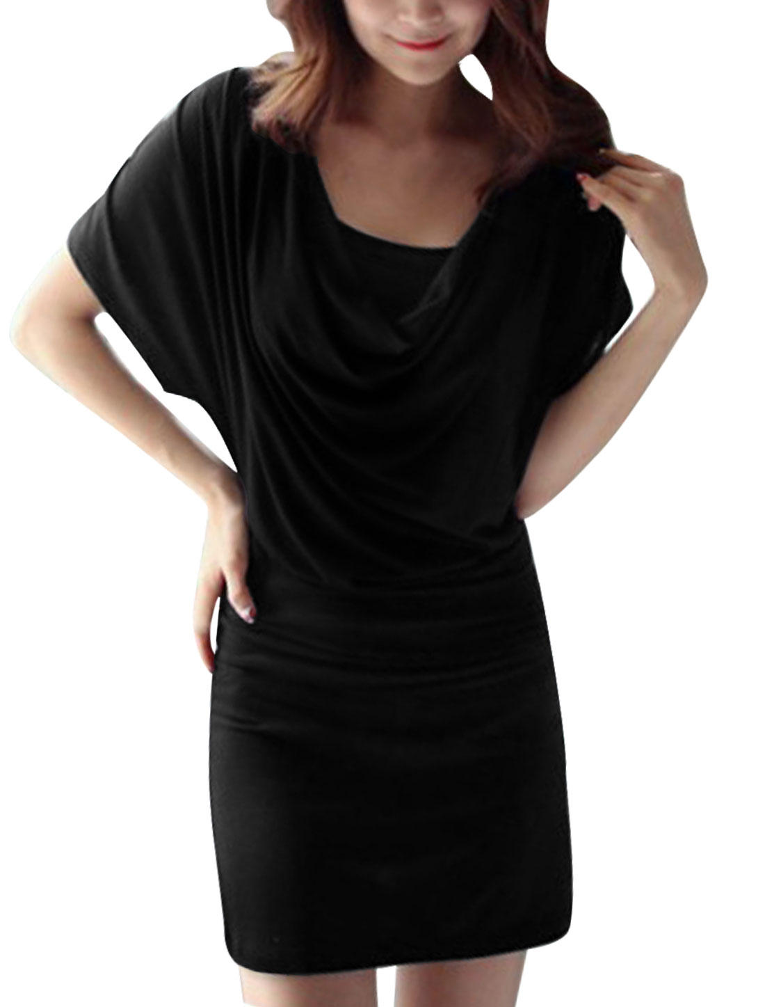 Lady Cowl Neck Short Batwing Sleeve Blouson Black Dress w Cami Black L