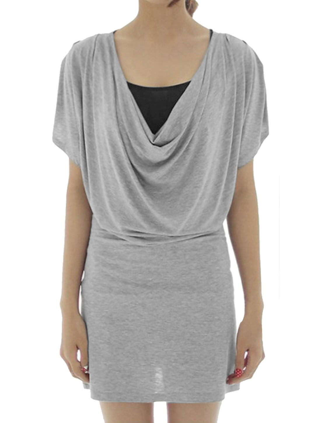 Short Dolman Sleeve Cowl Neck Blouson Gray Dress w Black Cami for LadiesL