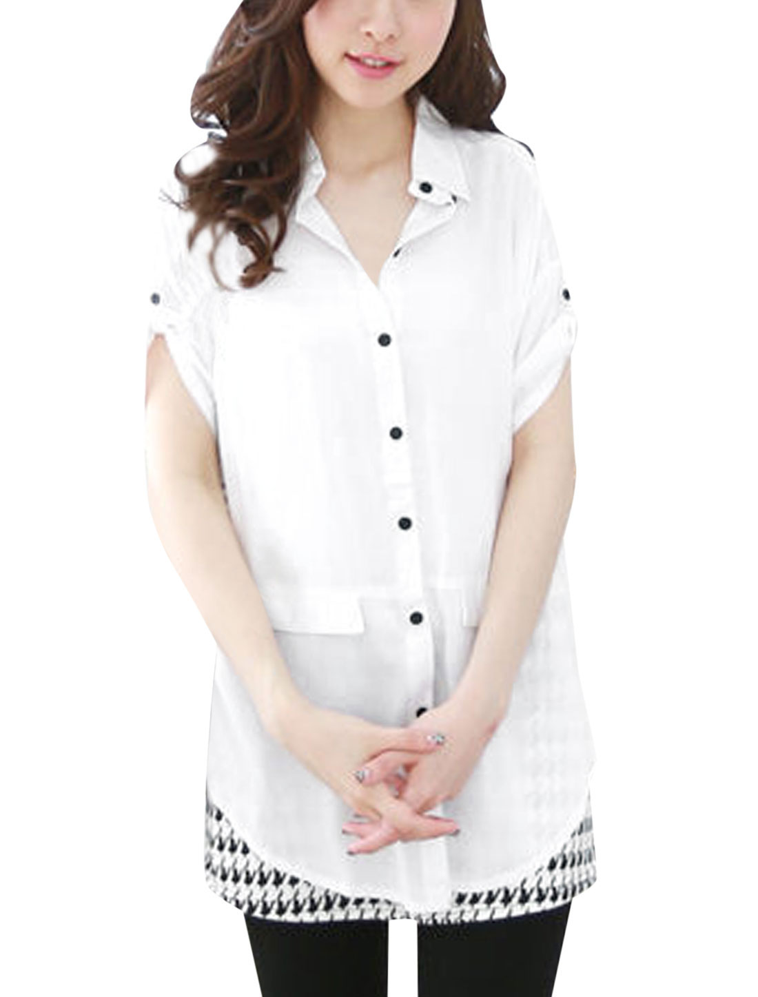 Ladies Point Collar Roll Up Cuffs Sweet Top Shirt White S
