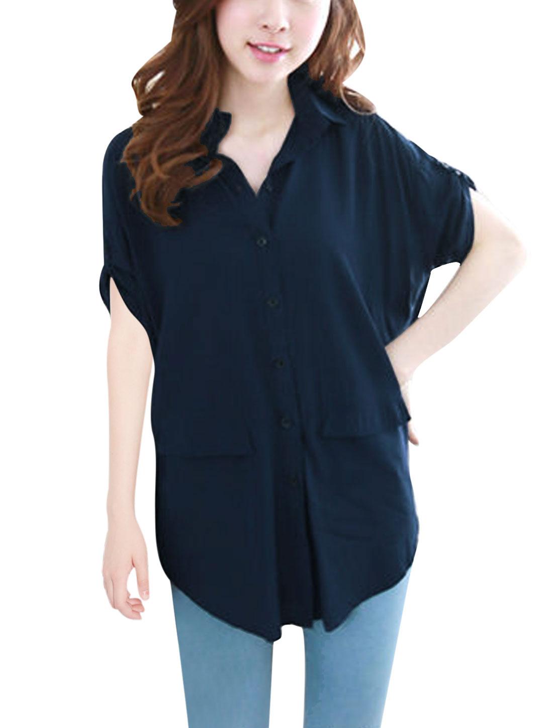 Lady Fake Flap Pockets Round Hem Single Breasted Sweet Top Shirt Navy Blue S