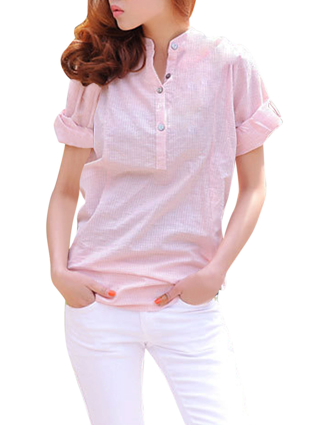 Lady Stand Collar Roll Up Sleeve Semi Sheer Half Button Shirt Pink XS