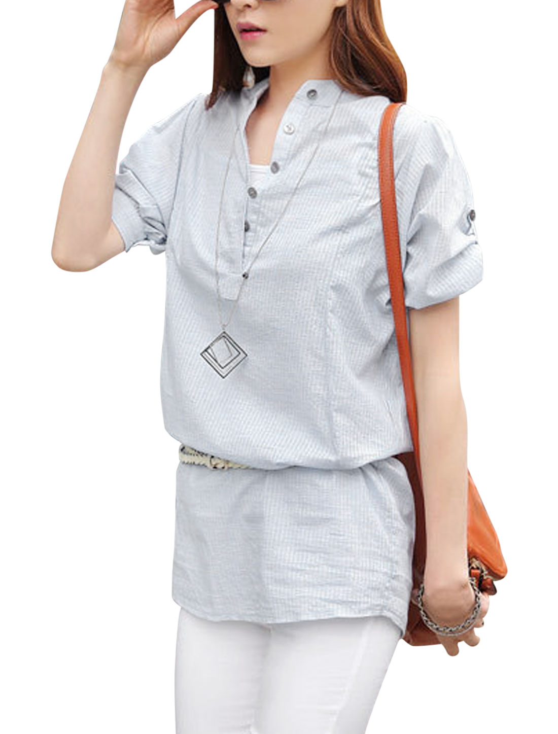 Roll Up Sleeve Gathered Detail Half Button White XS Shirt for Ladies
