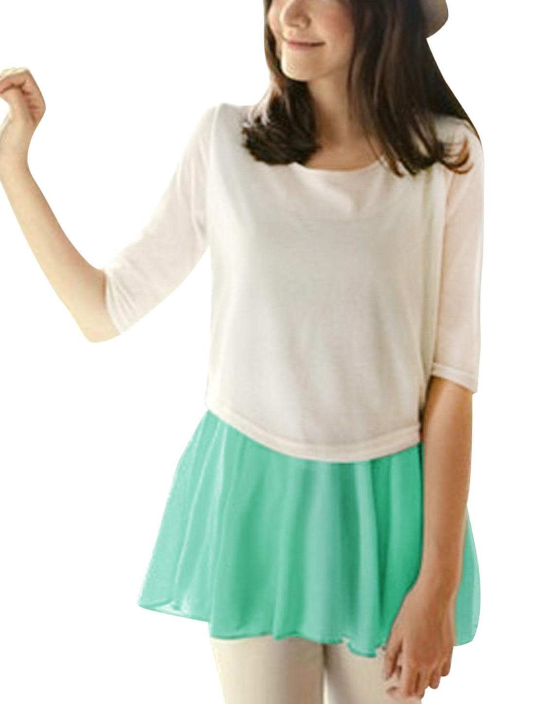 Lady 3/4 Sleeve Knit Top w Elastic Waist Semi Sheer Tunic Top Mint S