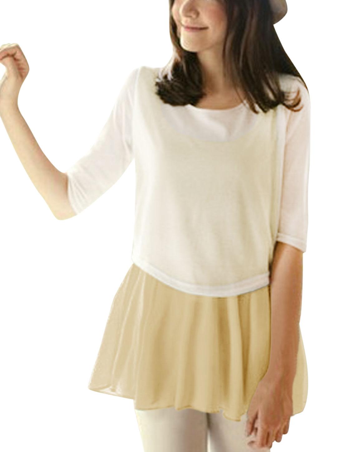 Lady 3/4 Sleeve Knit Top w Semi Sheer Tunic Top Dark Khaki S