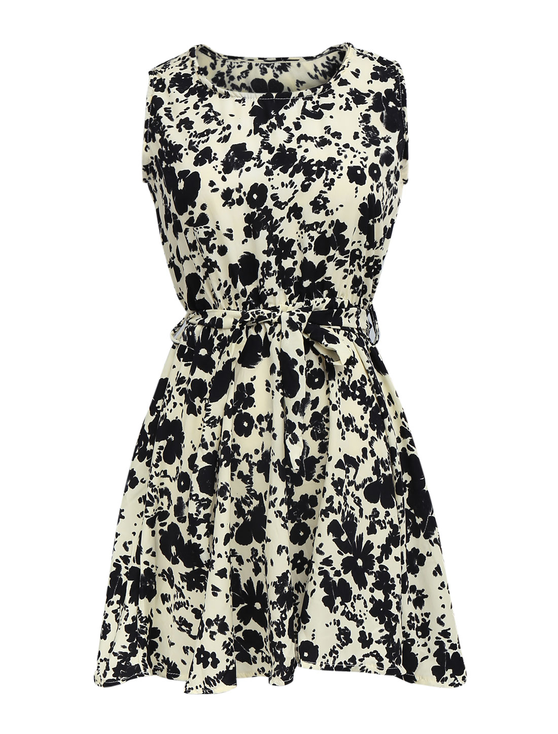 Lady Elastic Waist Floral Prints Belt Loop Dress Beige XS