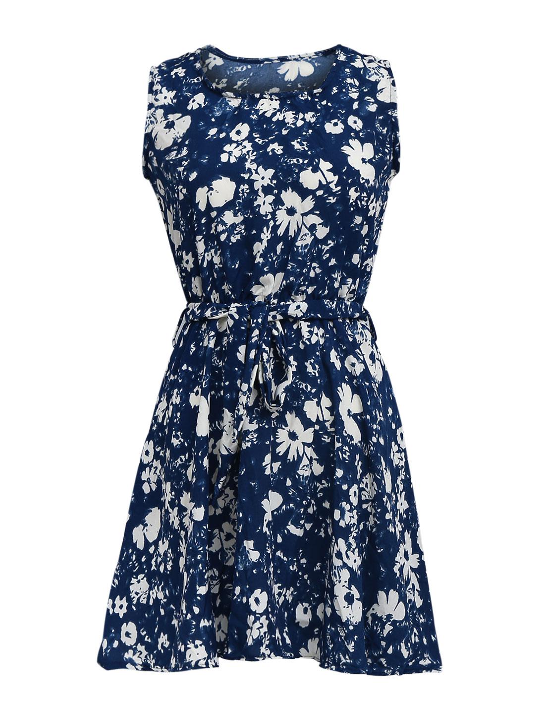 Lady Stretchy Waist Floral Prints Belt Loop Dress Dark Blue XS