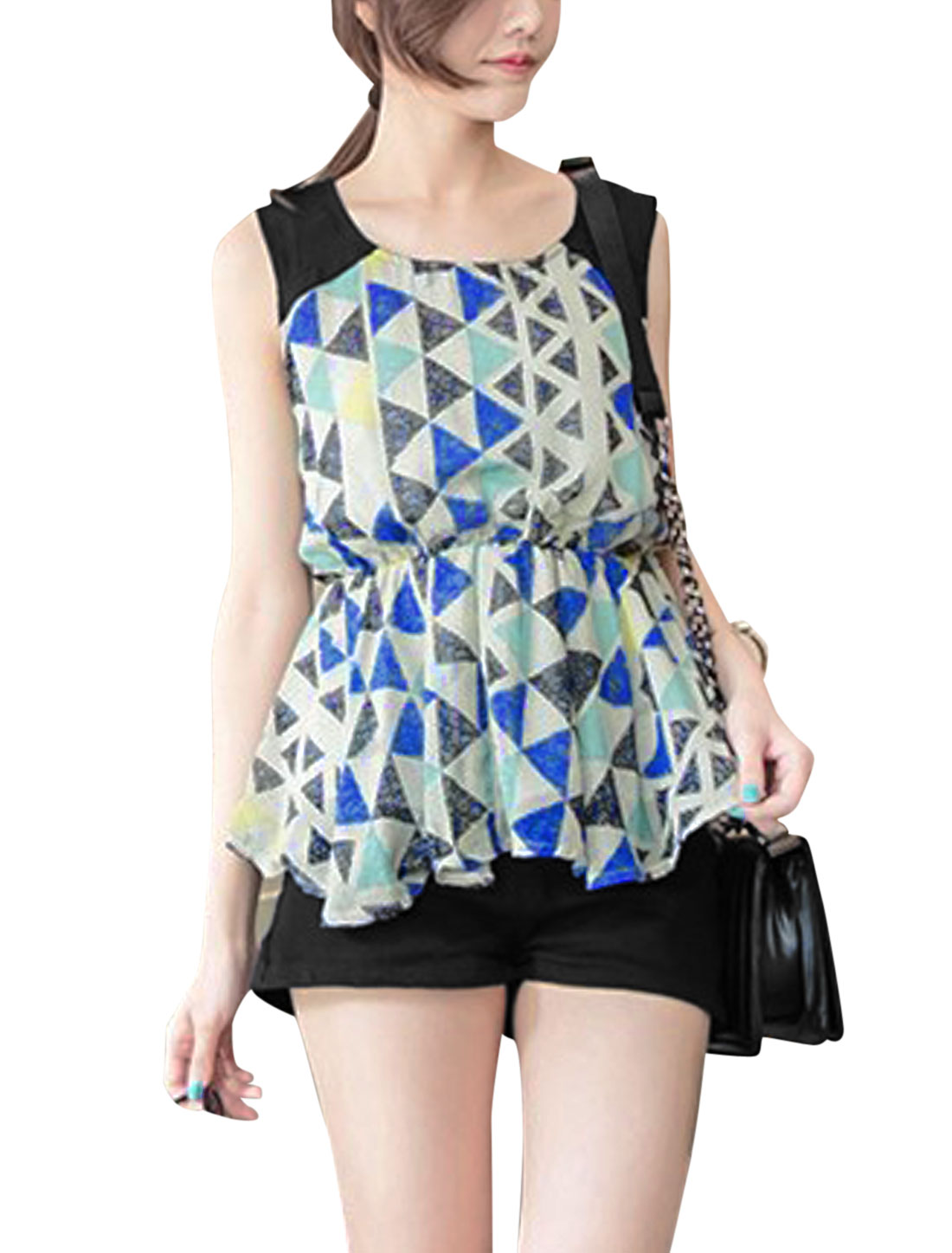 Lady Triangle Prints Elastic Waist Blouse Blue XS