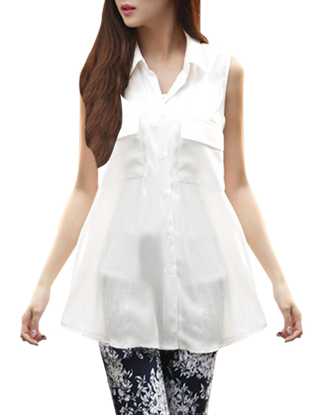 Women Single Breasted Semi Sheer Stylish Chiffon Tunic Shirt White S