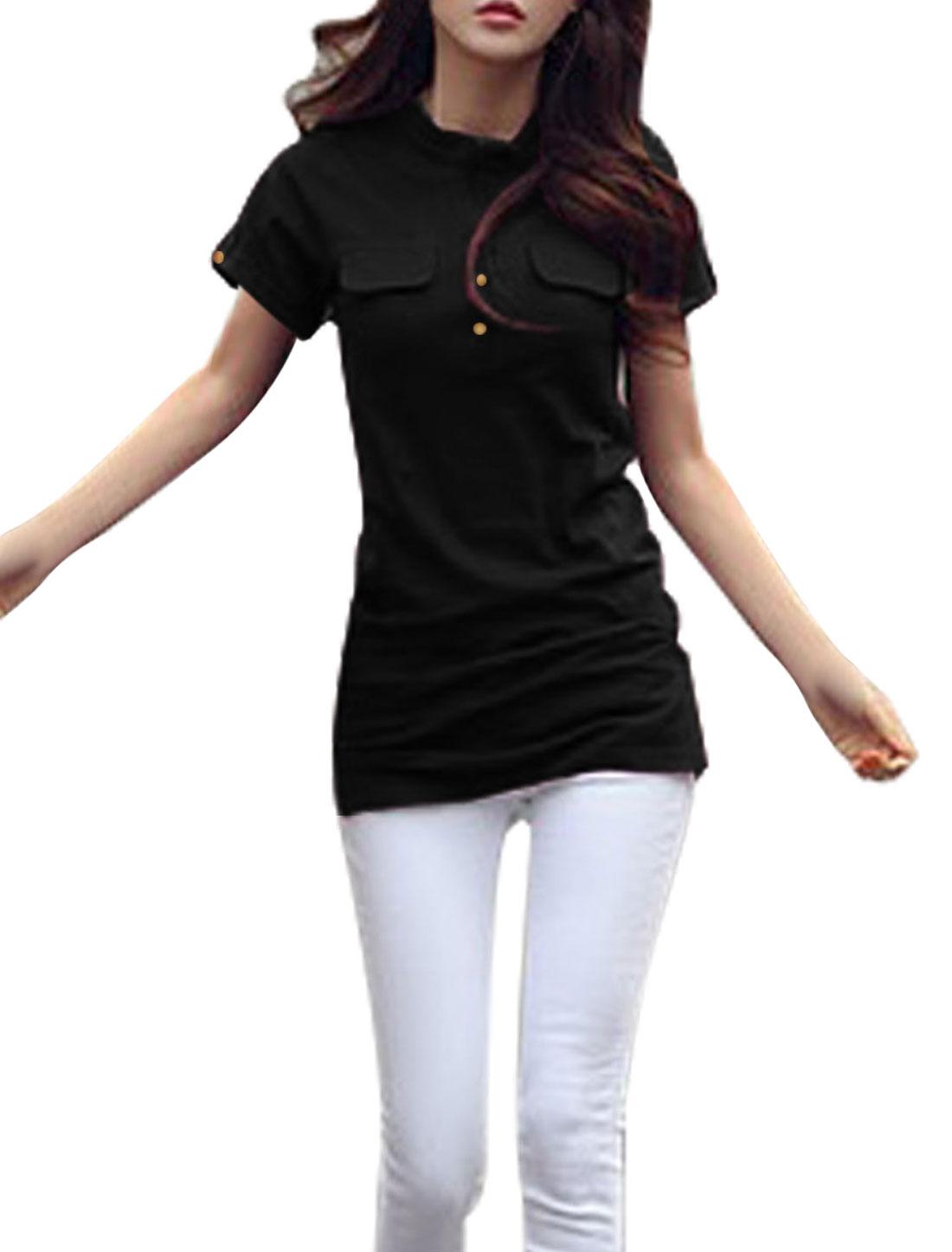 Women Mock Pockets Front 1/4 Placket Fashion Tunic Top Black S