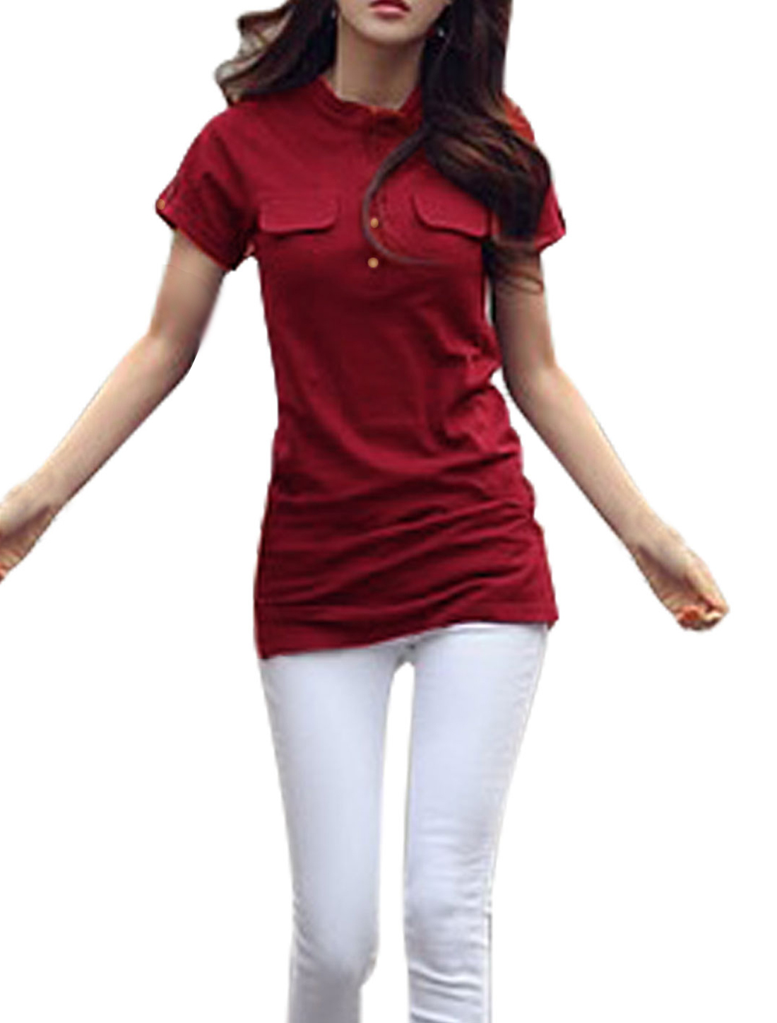Women Mock Pockets Front Split Hem Fashion Tunic Top Burgundy S