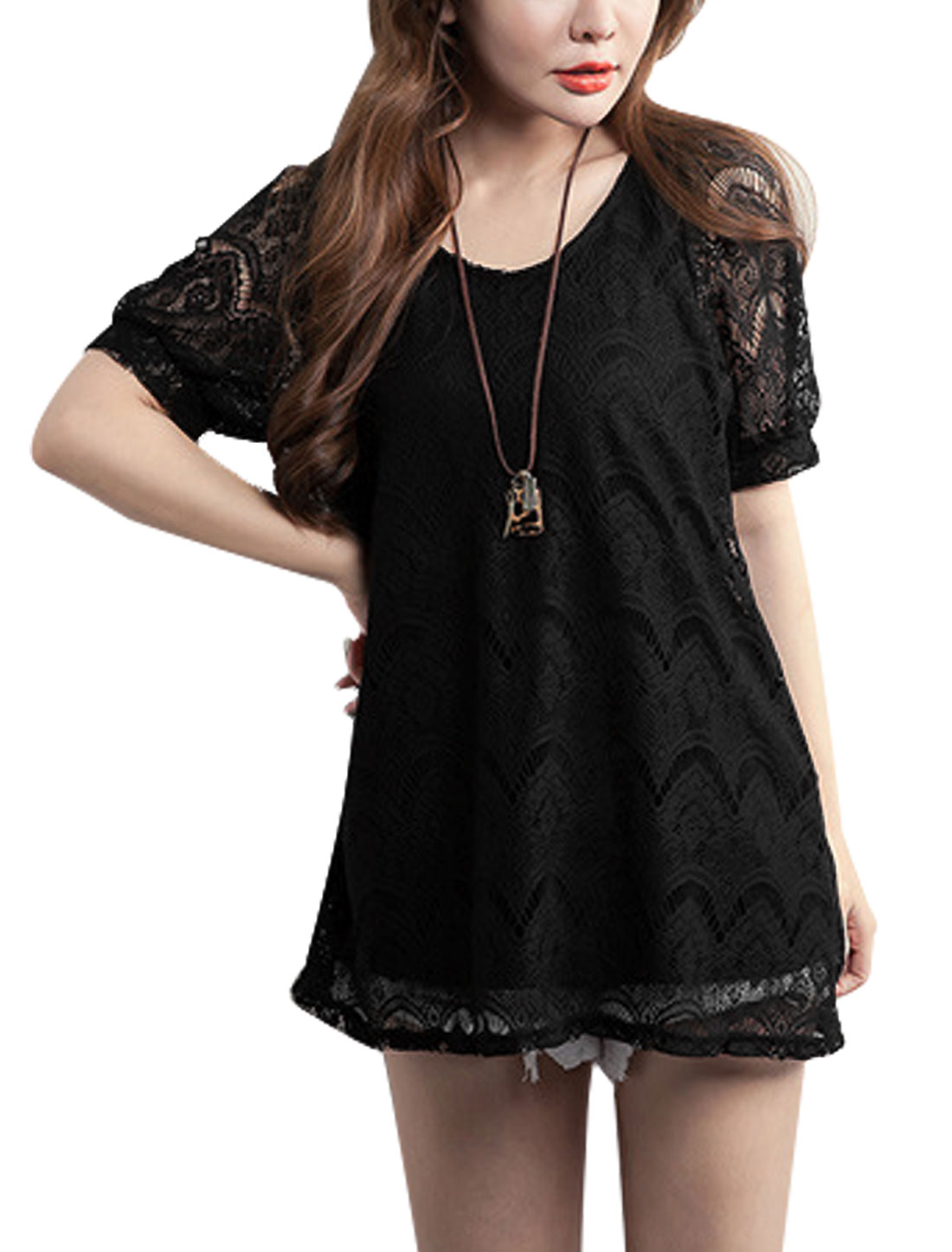 Ladies Scoop Neck Lined Sweet Lace Top Black XS