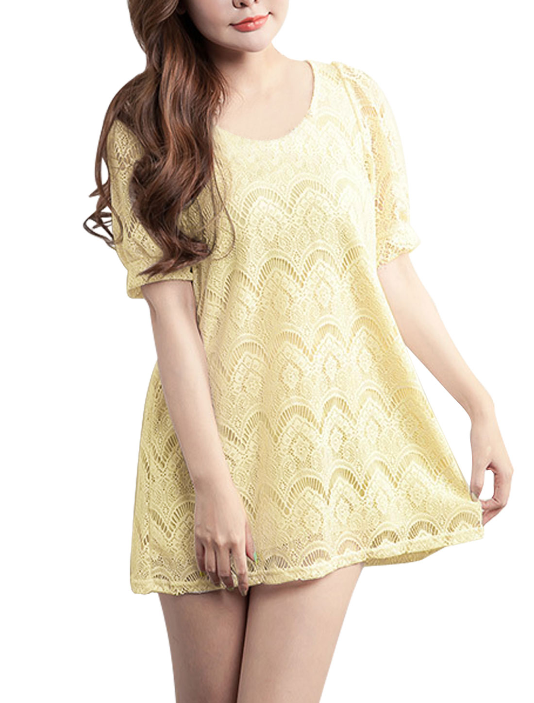 Ladies Pullover Hollow Out Detail Sweet Lace Top Light Yellow XS