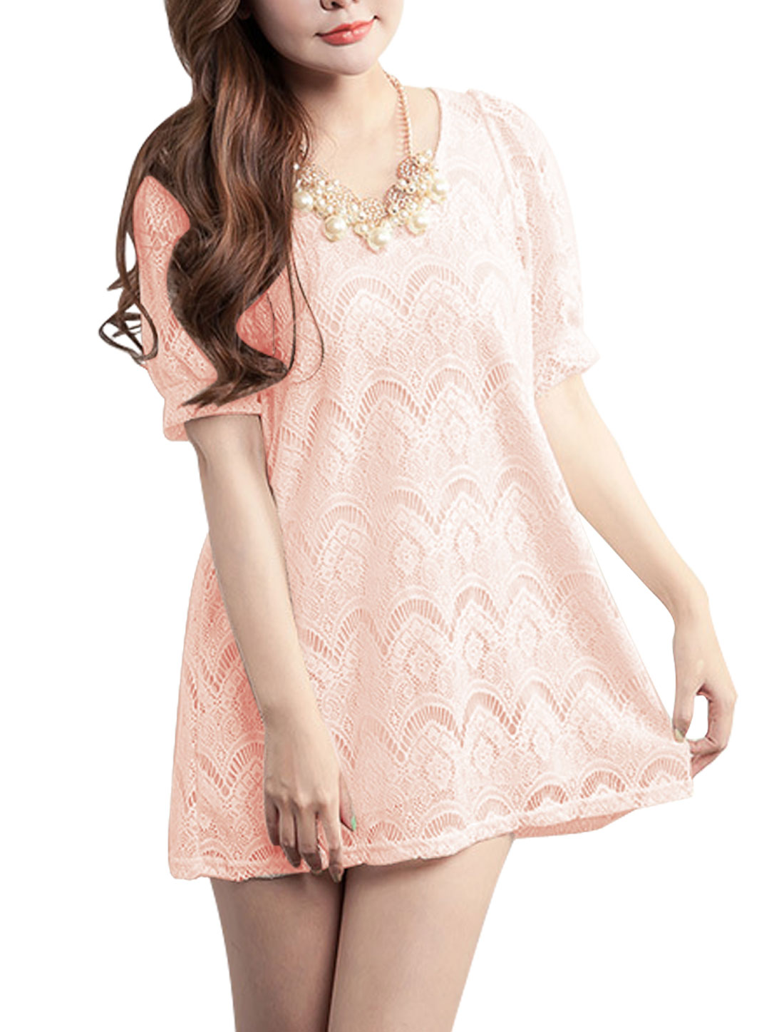 Lined Hollow Out Detail Chic NEW Lace Top for Women Light Pink XS